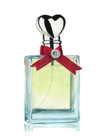 Watercolor bottle of perfume isolated on white background. Hand painted element. For design, textile and background
