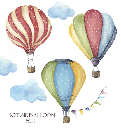 Watercolor hot air balloon polka dot set. Hand drawn vintage air balloons with flags garlands, clouds and retro design. Illustrations isolated on white background. Stock Photo