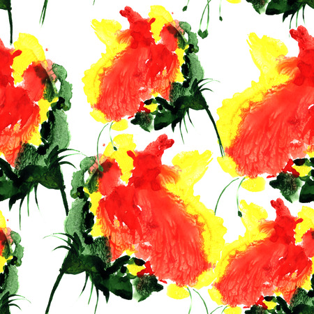Watercolor seamless pattern with fantasy flower in red and yellow color. Hand drawn illustration for design, textile and background
