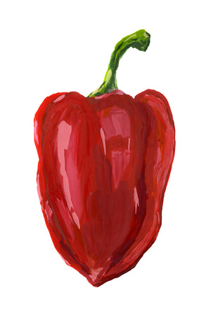 halved: Red sweet pepper. Food illustration isolated on white background.