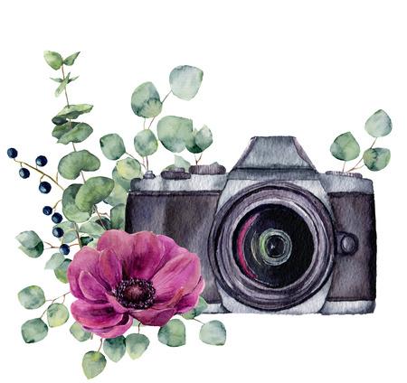 말미잘 꽃과 유칼립투스 수채화 사진 레이블입니다. 흰색 배경에 고립 된 플로랄 디자인 손으로 그려진 된 사진 카메라. 디자인, 지문 또는 배경.