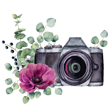 Watercolor photo label with anemone flower and eucalyptus. Hand drawn photo camera with floral design isolated on white background. For design, prints or background.
