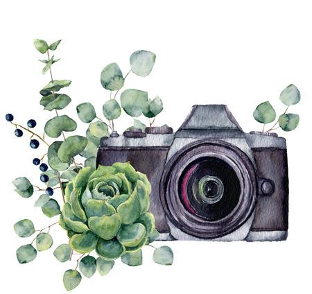 즙이 많은 유칼립투스 수채화 사진 레이블. 흰색 배경에 고립 된 플로랄 디자인 손으로 그려진 된 사진 카메라. 디자인, 지문 또는 배경.