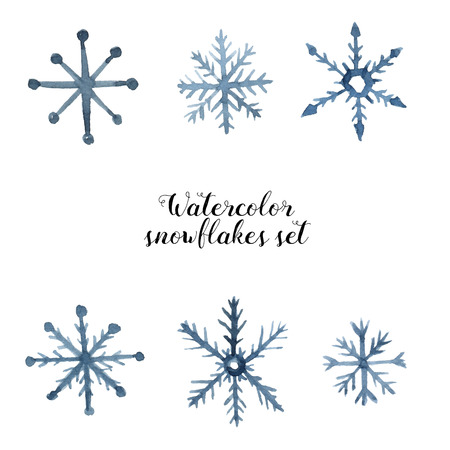 ice crystal: Watercolor snowflakes set. Winter illustration with ice crystal elements isolated on white background. For design, print or fabric.