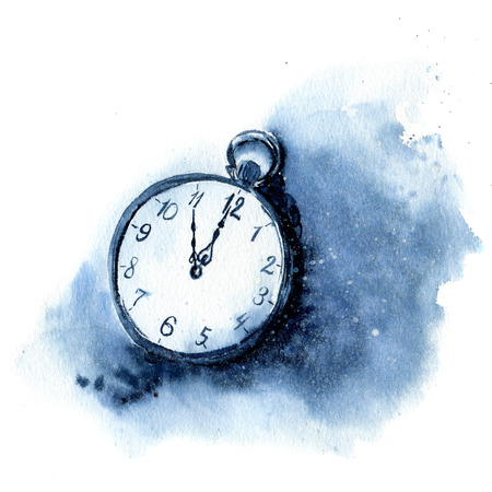 Watercolor vintage clock. Christmas illustration with snow and pocket watch isolated on white background. Five minutes to twelve oclock of new year. For design or print.