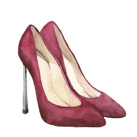 水彩の赤いスエードのかかとの高い靴。スティレットの靴は、白い背景で隔離。デザインのファッションのイラスト。パーティー印刷