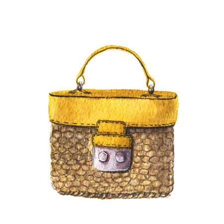 Watercolor woven straw bag with leather trim. Hand drawn isolated fashion illustration on white background. For design, textile and background.
