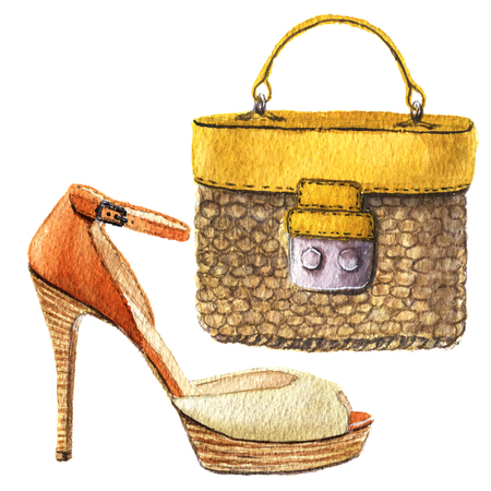 Watercolor woven straw bag with leather trim and orange heel shoes. Hand drawn fashion illustration on white background. For design, textile and background.