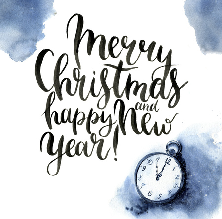 watch new year: Watercolor christmas print with vintage clock and lettering. Christmas illustration with snow, pocket watch and Merry Christmas and happy New Year lettering isolated on white background. For design. Stock Photo