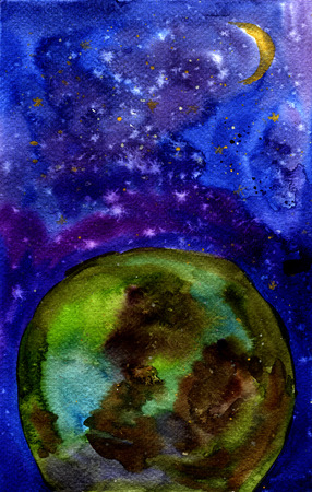 earth from space: Earth and space. Watercolor illustration. For Background