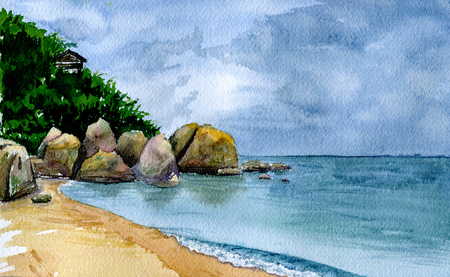 samui: Sea landscape in Samui. Watercolor background for design Stock Photo