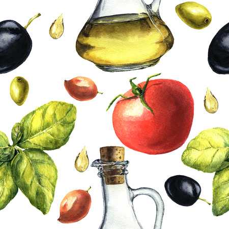Mediterranean pattern with olives, olive oil, basil, tomato. Watercolor botanical illustration