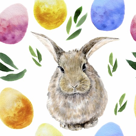 Watercolor easter pattern with Rabbit, eggs and herbs.
