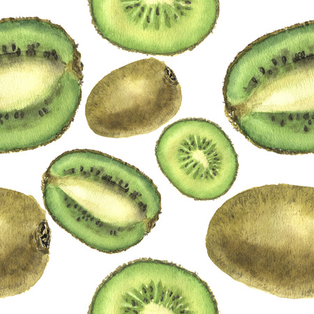 Watercolor seamless pattern with kiwi. For design, print and background. Botanical illustration.