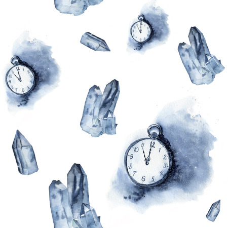 vintage clock: Watercolor seamless pattern with crystal of ice and vintage clock. Watercolor blue gem and pocket watch isolated on white background. Hand painted design elements