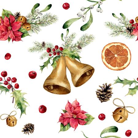 古典的な装飾が施された水彩画のクリスマスのパターン。ベル、ヒイラギ、ヤドリギ、ポインセチア、オレンジ スライス、円錐形の松とデザインの