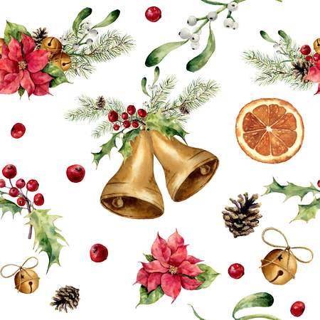 Watercolor christmas pattern with classic decor. New year tree ornament with bell, holly, mistletoe, poinsettia, orange slice, pine cone and bow for design, print or background.