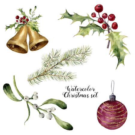 Insieme dell'acquerello di Natale. A mano collezione dipinta con campane, vischio, agrifoglio, ramo di abete e palla di Natale isolato su sfondo bianco. Per la progettazione e la stampa. Archivio Fotografico - 68800860