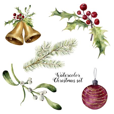 Watercolor christmas set. Hand painted collection with bells, mistletoe, holly, fir branch and christmas ball isolated on white background. For design or print.