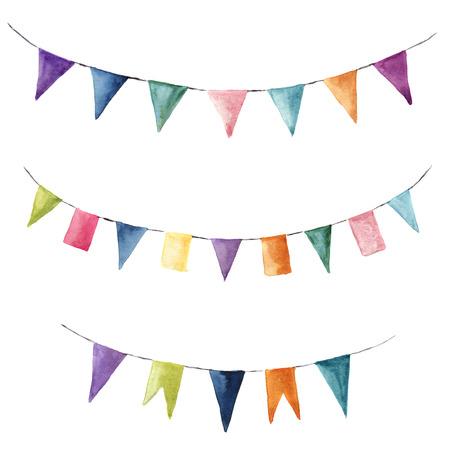 수채화 밝은 색상 garlands와 설정합니다. 파티, 아이 파티 또는 흰색 배경에 고립 된 결혼식 장식 요소. 디자인, 지문 또는 배경.