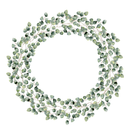 Watercolor floral border with silver dollar eucalyptus leaves. Hand painted floral wreath with branches, round leaves isolated on white background. For design or background. 免版税图像 - 68970713