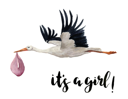 stark: Watercolor hand painted flying white stork with girl baby. Hand painted ciconia bird illustration isolated on white background. For design, prints or background.