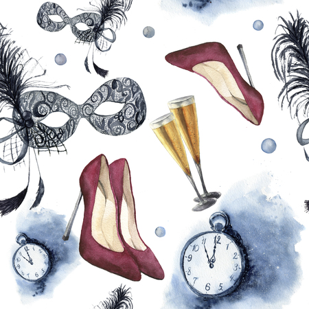 vintage clock: Watercolor christmas party seamless pattern. New year party ornament with vintage clock, red high-heel shoes, glasses with champagne and mask with feather. Hand painted artistic design.