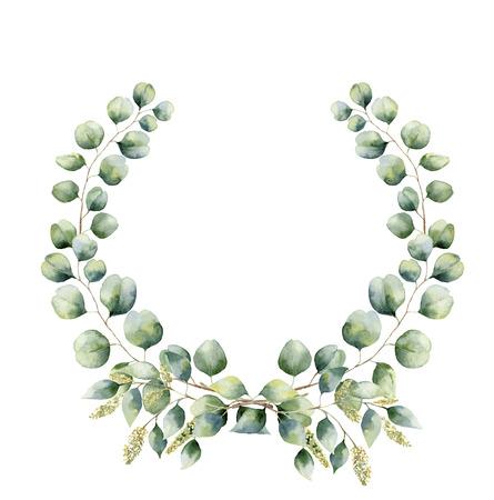 グリーン ユーカリと水彩の花の花輪を残します。手描きの枝、葉と花の花輪のシードし、白い背景の上にシルバー ダラー ユーカリが分離されまし 写真素材