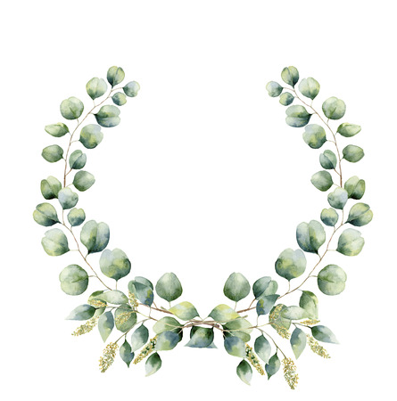 Watercolor floral wreath with green eucalyptus leaves. Hand painted floral wreath with branches, leaves of seeded and silver dollar eucalyptus isolated on white background. For design or background