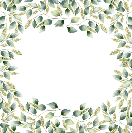 eucalyptus: Watercolor floral frame card with eucalyptus leaves. Hand painted border with branches and leaves of seeded eucalyptus isolated on white background. For design or background