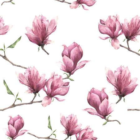 マグノリアと水彩のシームレスなパターン。手描きの花髪飾りホワイト バック グラウンドに分離されました。デザイン、印刷または生地のピンクの