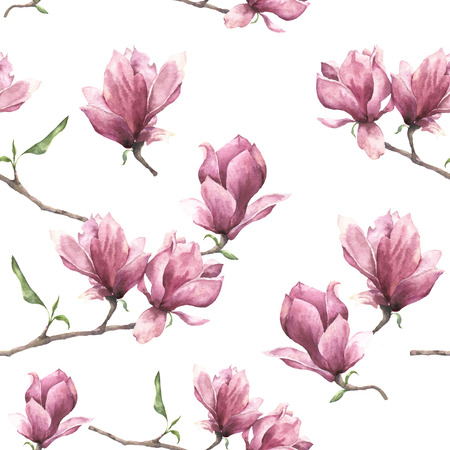 Watercolor seamless pattern with magnolia. Hand painted floral ornament isolated on white background. Pink flower for design, print or fabric.