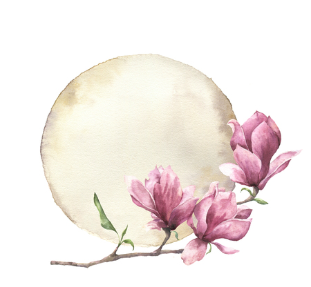 Watercolor card with magnolia and old paper. Hand painted paper texture with floral design isolated on white background. Illustration for design, print.