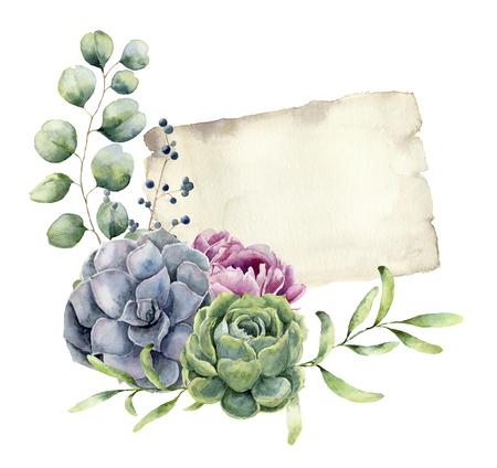 花柄のデザインで水彩春カード。手描きの紙テ