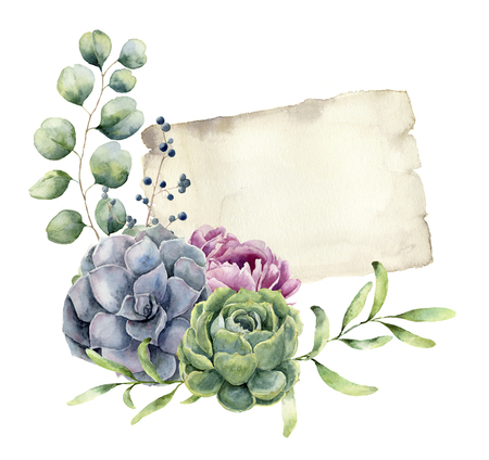 Watercolor spring card with floral design. Hand painted paper te Standard-Bild