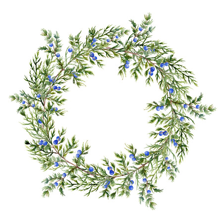 Watercolor jeneverbes krans. Met de hand beschilderd groenblijvende tak met bessen op een witte achtergrond. Botanische illustratie voor het ontwerp of afdrukken.