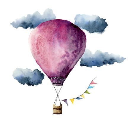 Watercolor violet hot air balloon. Hand painted vintage air balloons with flags garlands, clouds and retro design. Illustrations isolated on white background Archivio Fotografico
