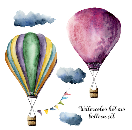 Watercolor hot air balloon set for design. Hand painted vintage air balloons with flags garlands and clouds. Illustrations isolated on white background Standard-Bild