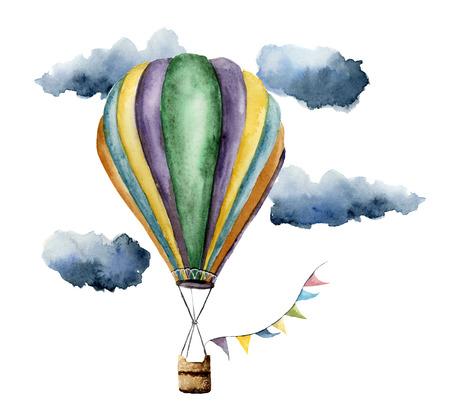 水彩の熱い空気バルーン セットです。手描きのフラグ花輪、雲やレトロなデザインでヴィンテージな熱気球。白い背景で隔離のイラスト