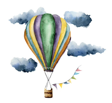 Watercolor hot air balloon set. Hand painted vintage air balloons with flags garlands, clouds and retro design. Illustrations isolated on white background Stockfoto