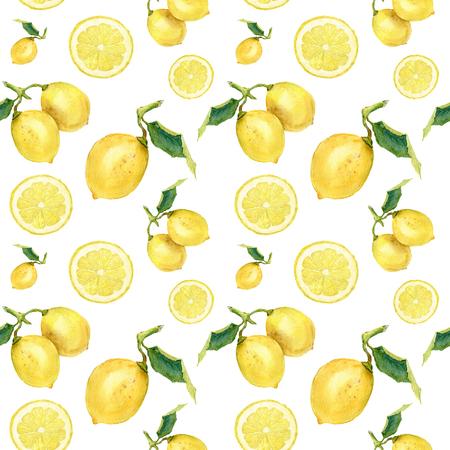 レモンと水彩のシームレスなパターン。手、デザイン、生地の白い背景に柑橘類の飾りを塗装や印刷します。