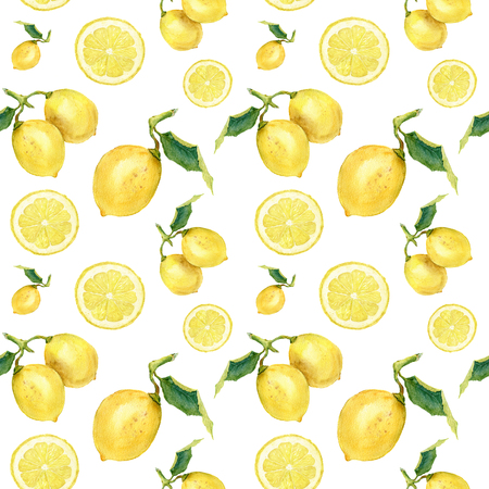 Watercolor seamless pattern with lemons. Hand painted citrus ornament on white background for design, fabric or print. Stock Photo