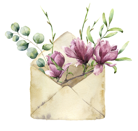 Watercolor old envelope with spring greenery, eucalyptus and magnolia. Hand painted floral card with flower, silver dollar eucalyptus and herbs on white background. For design, print or fabric.