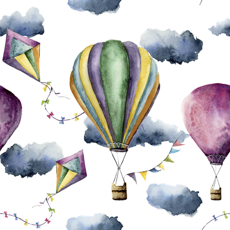 Watercolor pattern with hot air balloon and kite. Hand drawn vintage kite, air balloons with flags garlands, clouds and retro design. Illustrations isolated on white background Archivio Fotografico