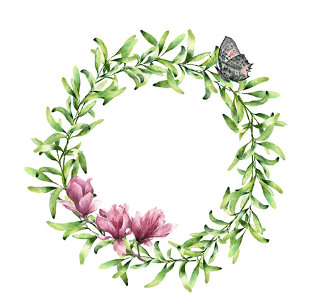 Watercolor greenery wreath with magnolia and butterfly. Hand painted floral border isolated on white background. Botanical illustration with green herbs and insect for design, print or fabric. 免版税图像 - 71124632