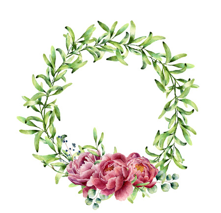 Watercolor greenery wreath with peony flowers and eucalyptus. Hand painted floral border isolated on white background. Botanical illustration with green herbs for design, print or fabric. Stock Photo