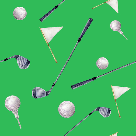 Watercolor pattern with golf elements. Hand painted pattern with golf clubs, balls and flags on green background. For design or background