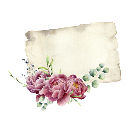 Watercolor print with peony, greenery, eucalyptus and old paper. Hand painted old paper texture with floral design isolated on white background. Illustration for design, print.