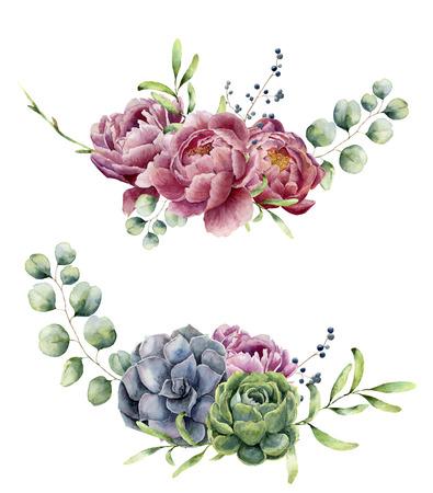 白い背景に分離された水彩花の組成物。ユーカリの枝、サボテン、牡丹、果実、緑、葉入りビンテージ スタイルの花束。花の手描きのデザイン