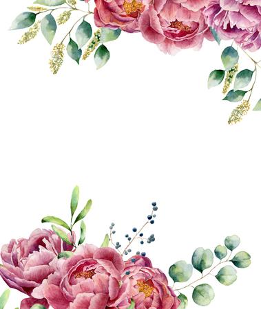 白い背景に分離された水彩の花カード。ユーカリの枝、牡丹、果実、緑葉とセット ビンテージ スタイルの花束。花の手描きのデザイン